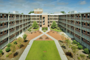 ECU Scott Residence Hall Exterior Quad
