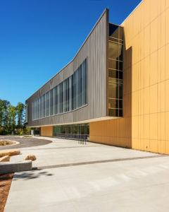 Health Sciences Classroom Lab Construction Wake Tech Building H Exterior Side Curve Close