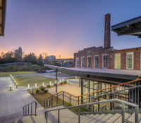 Optimist Hall Duke Energy Charlotte NC Exterior Stair Twilight
