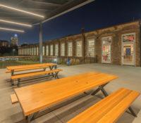 Optimist Hall Duke Energy Charlotte NC Exterior Picnic Tables