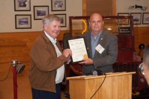 Jim Trogdon Presents Bob Barnhill with the Order of the Long Leaf Pine Award