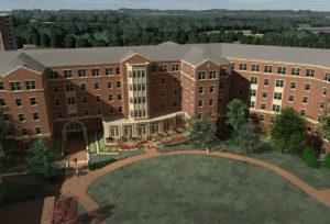 UNC Charlotte Residence Hall Aerial Rendering