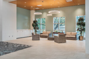 Interior seating area of New Bern Riverfront Convention Center in Craven County, NC