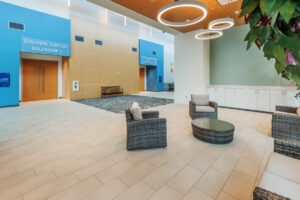 Lobby area of New Bern Riverfront Convention Center in Craven County, NC