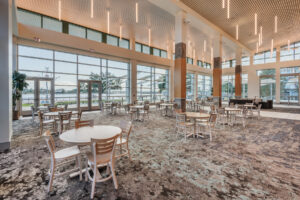 Dining area overlooking veranda of New Bern Riverfront Convention Center