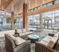 Seating area overlooking veranda of New Bern Riverfront Convention Center in Craven County, NC