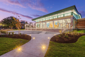 Veranda at twilight at New Bern Riverfront Convention Center in Craven County, NC