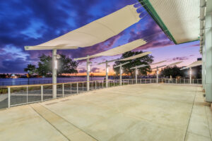 Retracting awnings over veranda at New Bern Riverfront Convention Center in Craven County, NC