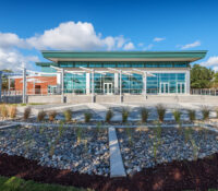 View from the Trent River of the New Bern Riverfront Convention Center in Craven County, NC