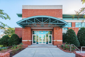Main entrance of New Bern Riverfront Convention Center in Craven County, NC